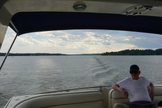 Jim enjoying the ride up the Bay